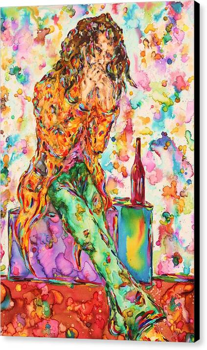 Figure Canvas Print featuring the painting Oh Bottle Of Wine by Van David