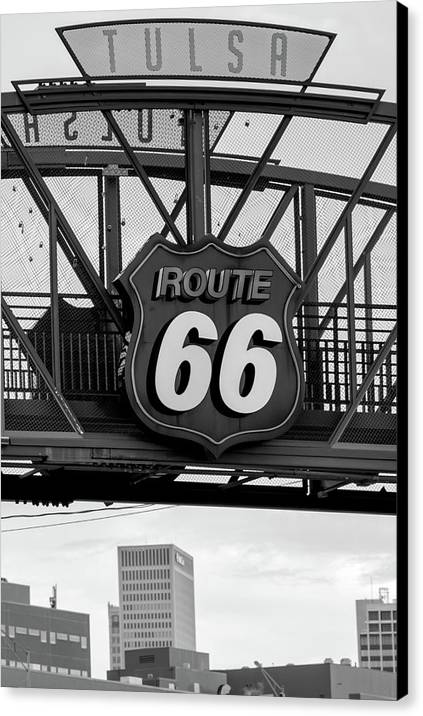 Tulsa Route 66 Neon Over City Skyline by Gregory Ballos