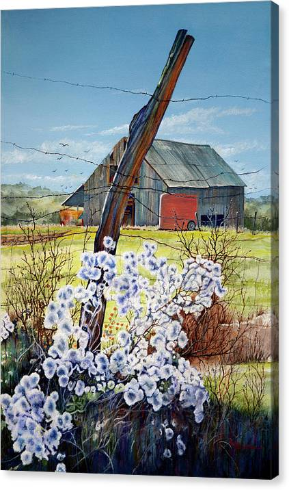 Mary Dove Art Canvas Print featuring the painting Texas Red Horse Trailer by Mary Dove