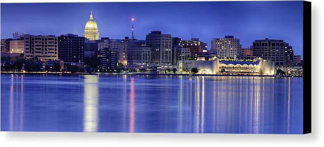 Capitol Canvas Print featuring the photograph Madison Skyline Reflection by Sebastian Musial