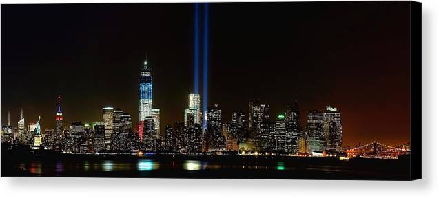 9-11 Canvas Print featuring the photograph Tribute In Light From Bayonne by Nick Zelinsky