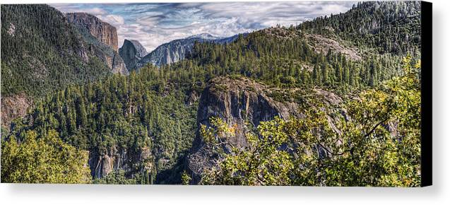 Hdr Panoramic Canvas Print featuring the photograph Yosemite Valley by Stephen Campbell