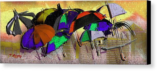 Rain Canvas Print featuring the digital art Metro Rains by Tony Marquez