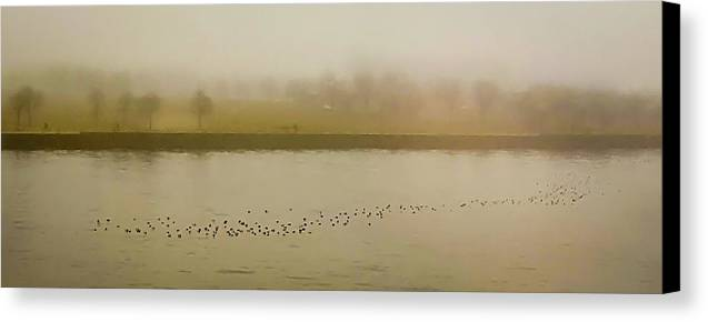 Water Canvas Print featuring the photograph Foggy Afternoon by Deb Barchus
