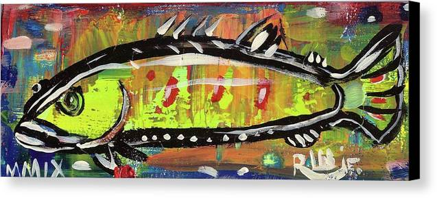Rwjr Canvas Print featuring the painting Lil Funky Folk Fish Number Twelve by Robert Wolverton Jr