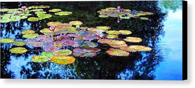 Water Lilies Canvas Print featuring the painting Peace Among The Lilies by John Lautermilch