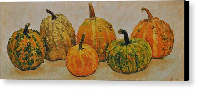 Still Life Canvas Print featuring the painting Still Life With Pumpkins by Iliyan Bozhanov