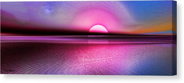 Seascape Canvas Print featuring the digital art Pink Sunset by Tyler Robbins