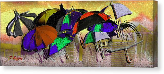 Rain Canvas Print featuring the digital art Metro Rains by Tony Marquez