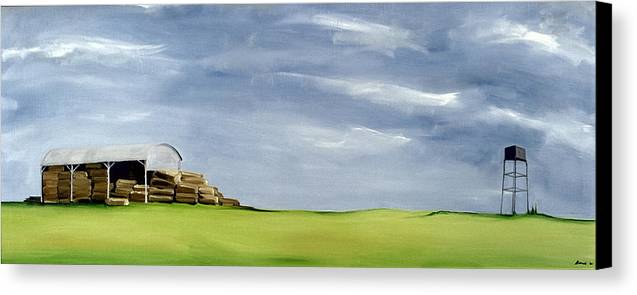 Agriculture & Rural Scenes Canvas Print featuring the painting Haybarn Dreaming by Ana Bianchi