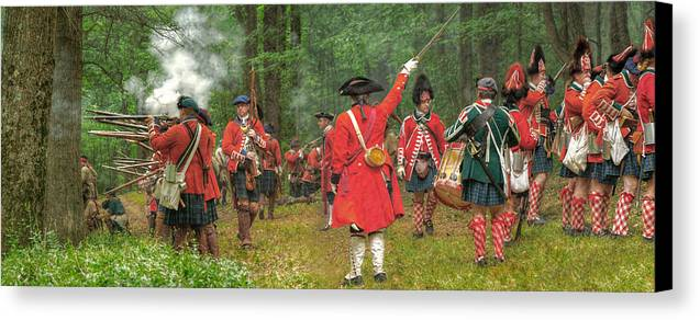 Panoramic Canvas Print featuring the photograph Panoramic Battle Of Bushy Run by Randy Steele