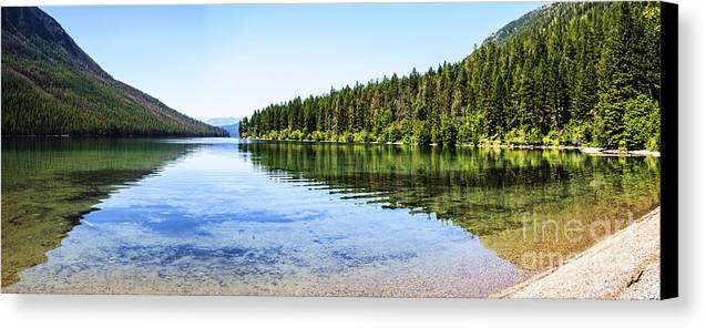 Kintla Lake Canvas Print featuring the photograph The Best Beach In Glacier National Park Panorama by Scotts Scapes