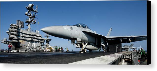 Operation Enduring Freedom Canvas Print featuring the photograph An Fa-18f Super Hornet Launches by Stocktrek Images