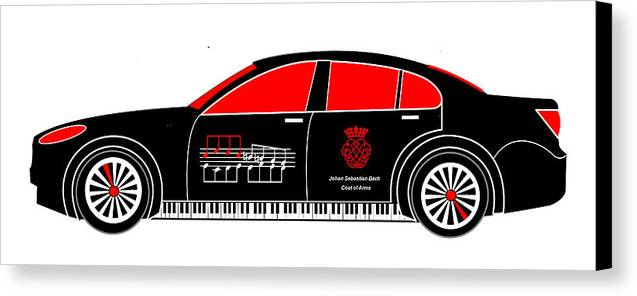 Johan Sebastian Bach Canvas Print featuring the digital art Johan Sebastian Bach's Bmw 7 by Asbjorn Lonvig