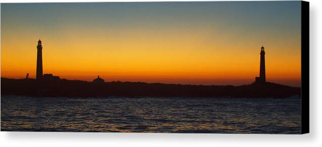 Lighthouse Canvas Print featuring the photograph Twin Lights At Thacher Island by Joseph Gillette