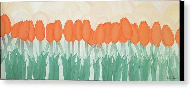 Marinella Owens Canvas Print featuring the painting Orange Tulipans by Marinella Owens