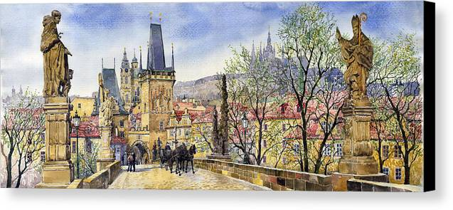 Watercolour Canvas Print featuring the painting Prague Charles Bridge Spring by Yuriy Shevchuk