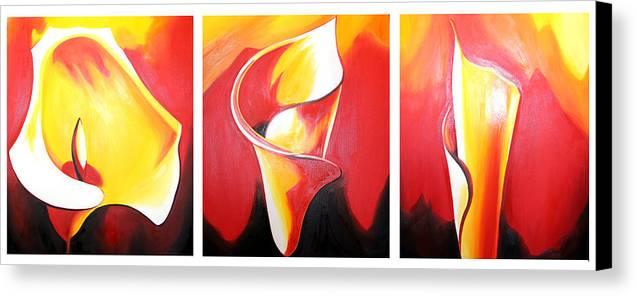 Triple Canvas Print featuring the painting Triple Lily Paintings by Fabjola Bramo