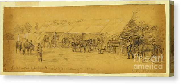American Civil War Canvas Print featuring the drawing Blacksmiths Department Hd. Qts by Celestial Images