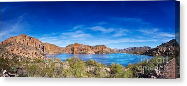 Canyon Lake Canvas Print featuring the photograph Canyon Lake Panorama by Jo Ann Snover