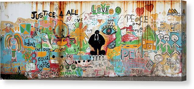 Mural Canvas Print featuring the photograph Street Mural At Liguanea by Laurel Talabere