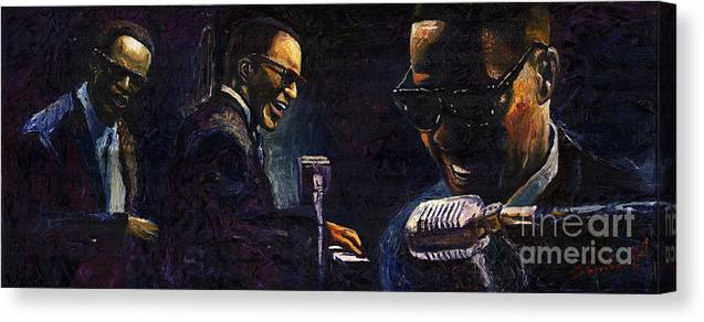 Jazz Canvas Print featuring the painting Jazz Ray Charles 2 by Yuriy Shevchuk