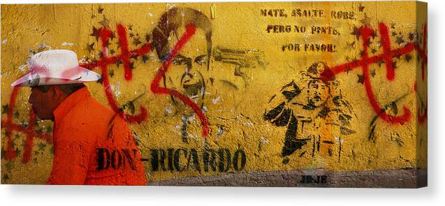 Grafitti Canvas Print featuring the photograph Don-ricardo by Skip Hunt