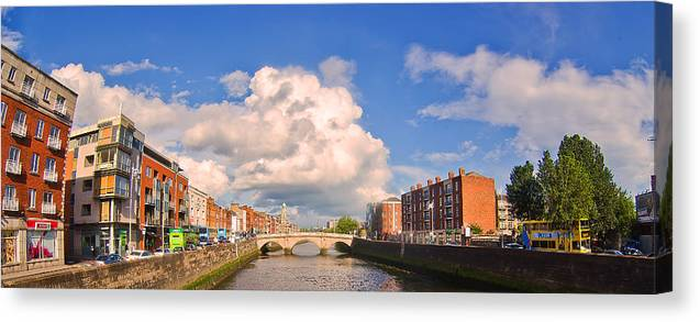 Dublin Canvas Print featuring the photograph Dublin's Fairytales Around River Liffey by Alex Art and Photo