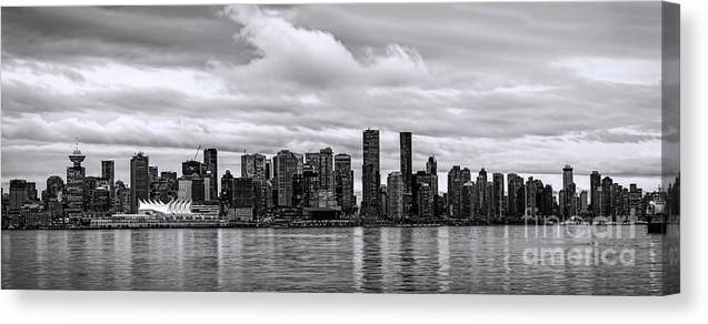 Vancouver Canvas Print featuring the photograph Vancouver In Black And White. by Viktor Birkus