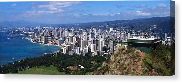 Landscape Canvas Print featuring the photograph Downtown Honolulu by Michael Lewis