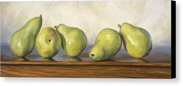 Still Life Canvas Print featuring the painting Anjou Pears by Lucie Bilodeau