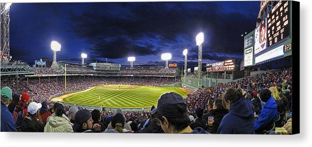Crowd Canvas Print featuring the photograph Fenway Night by Rick Berk