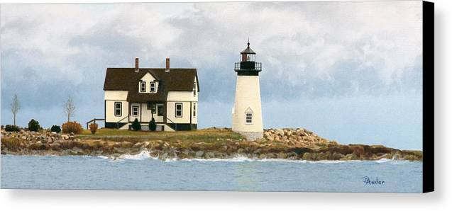 Lighthouse Canvas Print featuring the drawing Foggy Guardian by Brent Ander