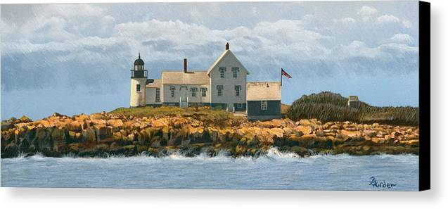 Lighthouse Canvas Print featuring the drawing Foggy Sentinel by Brent Ander