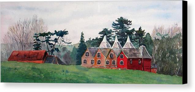 Oast House Canvas Print featuring the painting Kent Country Houses by Debbie Homewood