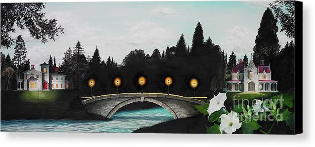 Architecture Canvas Print featuring the painting Night Bridge by Melissa A Benson
