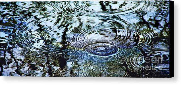 Rain Canvas Print featuring the photograph Raindrops On Water by Francesa Miller