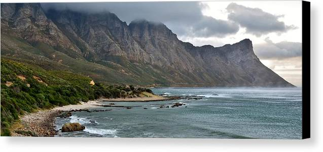 Landscape; Rocky; Coast- Line; Mountains; Morning Light; South Africa; Overberg; Atlantic Ocean; Stormy Weather; Dark Clouds; Panorama; Beach; Sand; Canvas Print featuring the photograph Rocky Coast Line by Werner Lehmann