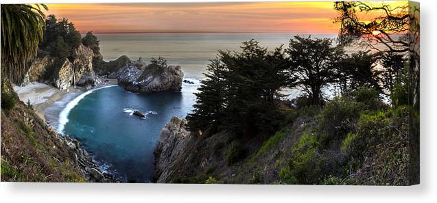 Mcway Falls Canvas Print featuring the photograph Mcway Falls Sunset by Brad Scott