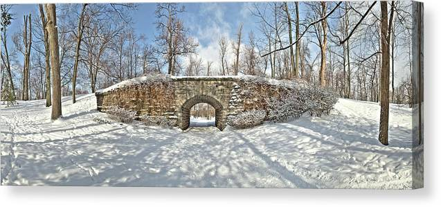 Ivy Covered Bridge Canvas Print featuring the photograph Ivy Bridge Winter by Joe Cascio