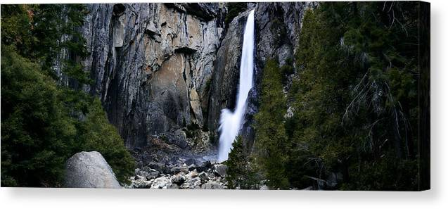 Yosemite Canvas Print featuring the photograph Lower Falls by Nick Borelli