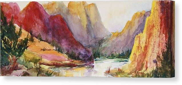 Canvas Print featuring the painting Smith Rock Fall Morning 2 by Sukey Watson