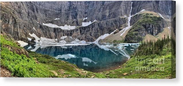 Iceberg Lake Panorama Canvas Print featuring the photograph Vanishing Beauty by Adam Jewell