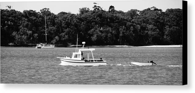 Boat Canvas Print featuring the photograph Boat And Tender At Coochiemudlo Island by Pierre Roux