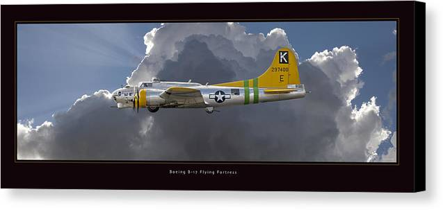 B-17 Flying Fortress Framed Prints Canvas Print featuring the photograph Boeing B-17 by Larry McManus