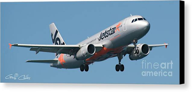 Aircraft Canvas Print featuring the photograph Commercial Aircraft At Sydney Airport by Geoff Childs