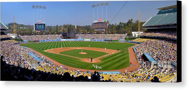 Dodgers Canvas Print featuring the photograph Dodger Stadium Panorama by Eddie Yerkish