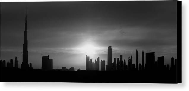 Burj Khalifa Canvas Print featuring the photograph Dubai Sunset Black And White by Ahmed Rashed
