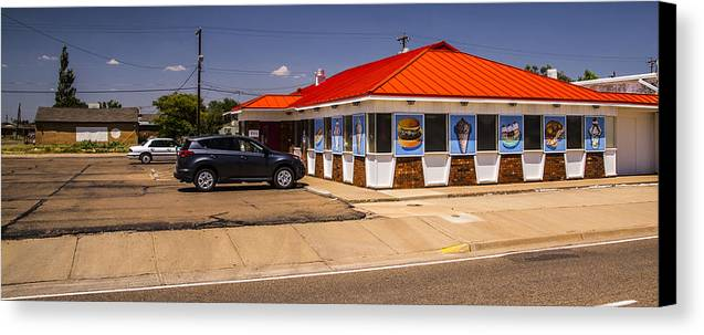 Route 66 Canvas Print featuring the photograph Hamburgers And Ice Cream by Angus Hooper Iii