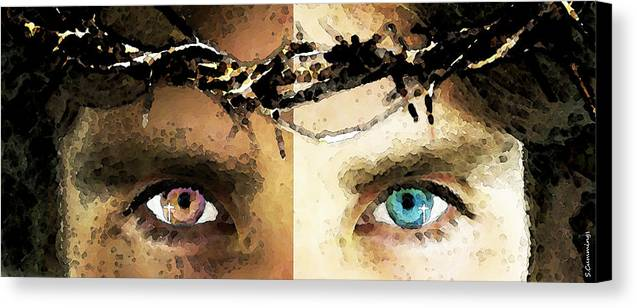 Christian Canvas Print featuring the painting Jesus Christ - How Do You See Me by Sharon Cummings